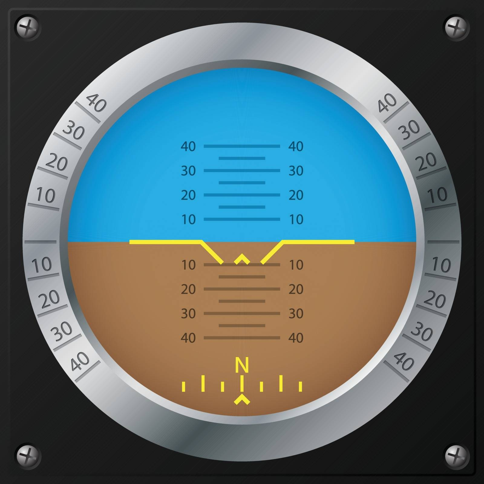Attitude indicator design on screwed black plate for airplanes