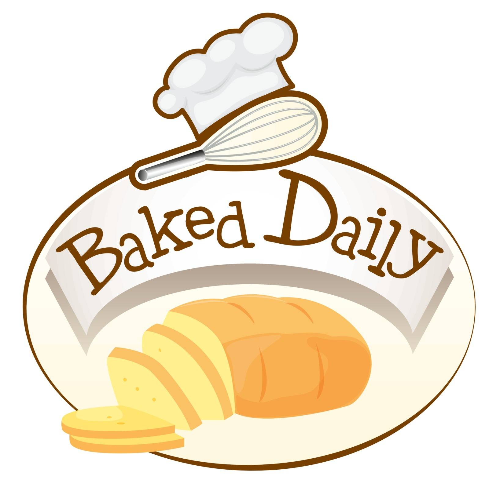 Illustration of a baked daily label with bread on a white background
