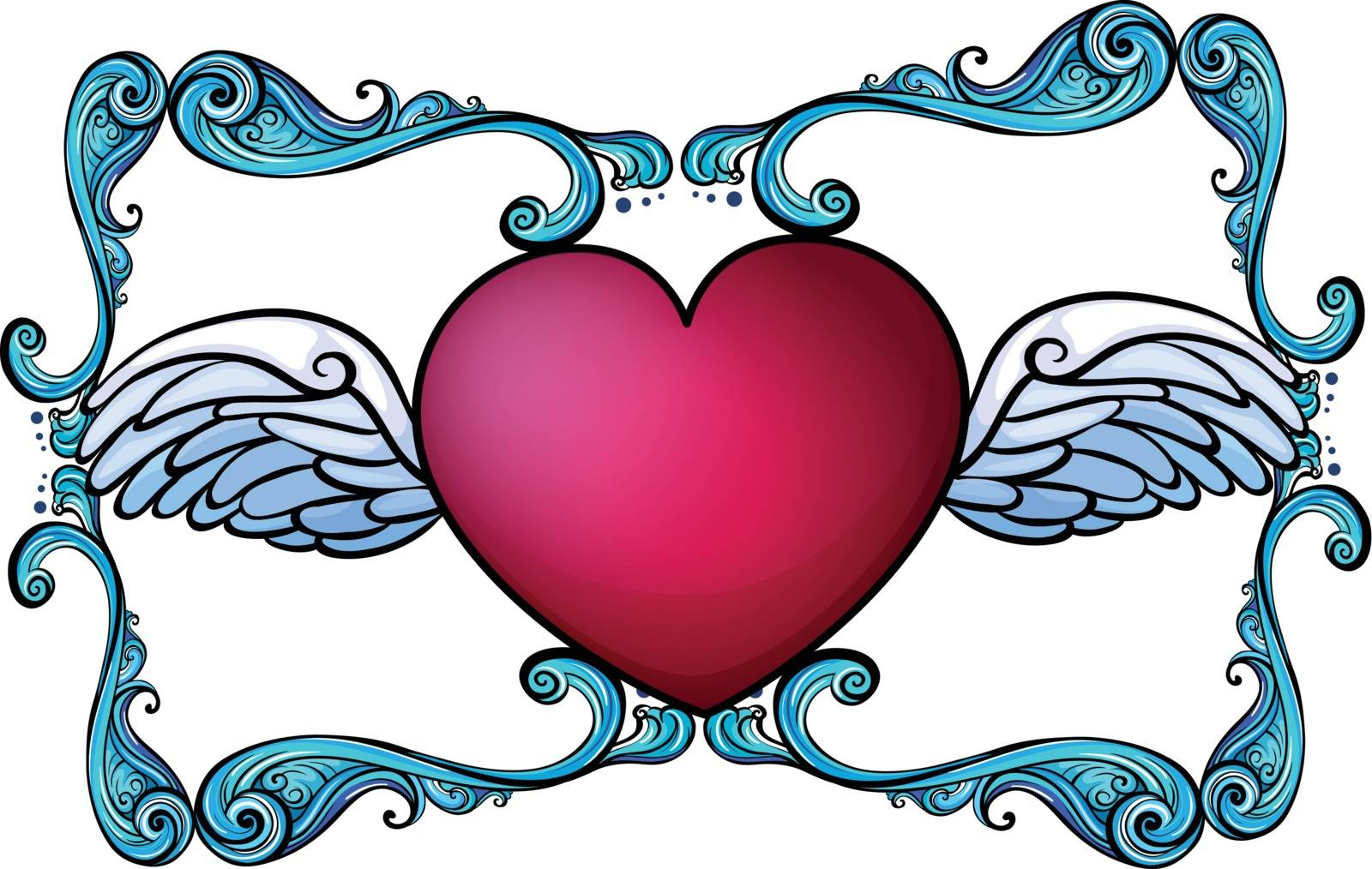 Illustration of a heart decor on a white background
