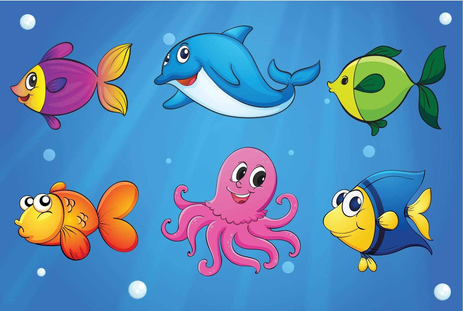 Illustration of the sea creatures under the sea