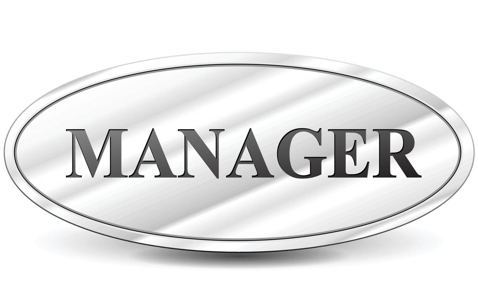 Vector illustration of manager chrome sign on white background
