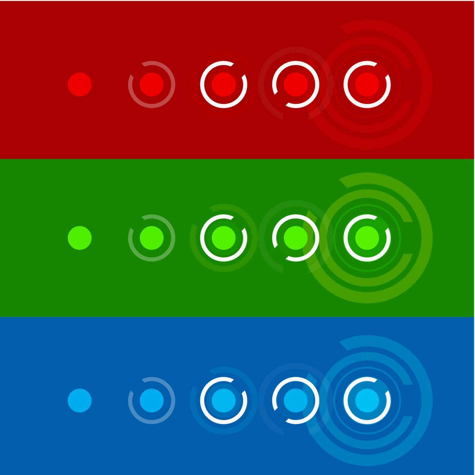 Set in a circular infographics, blue, green and red