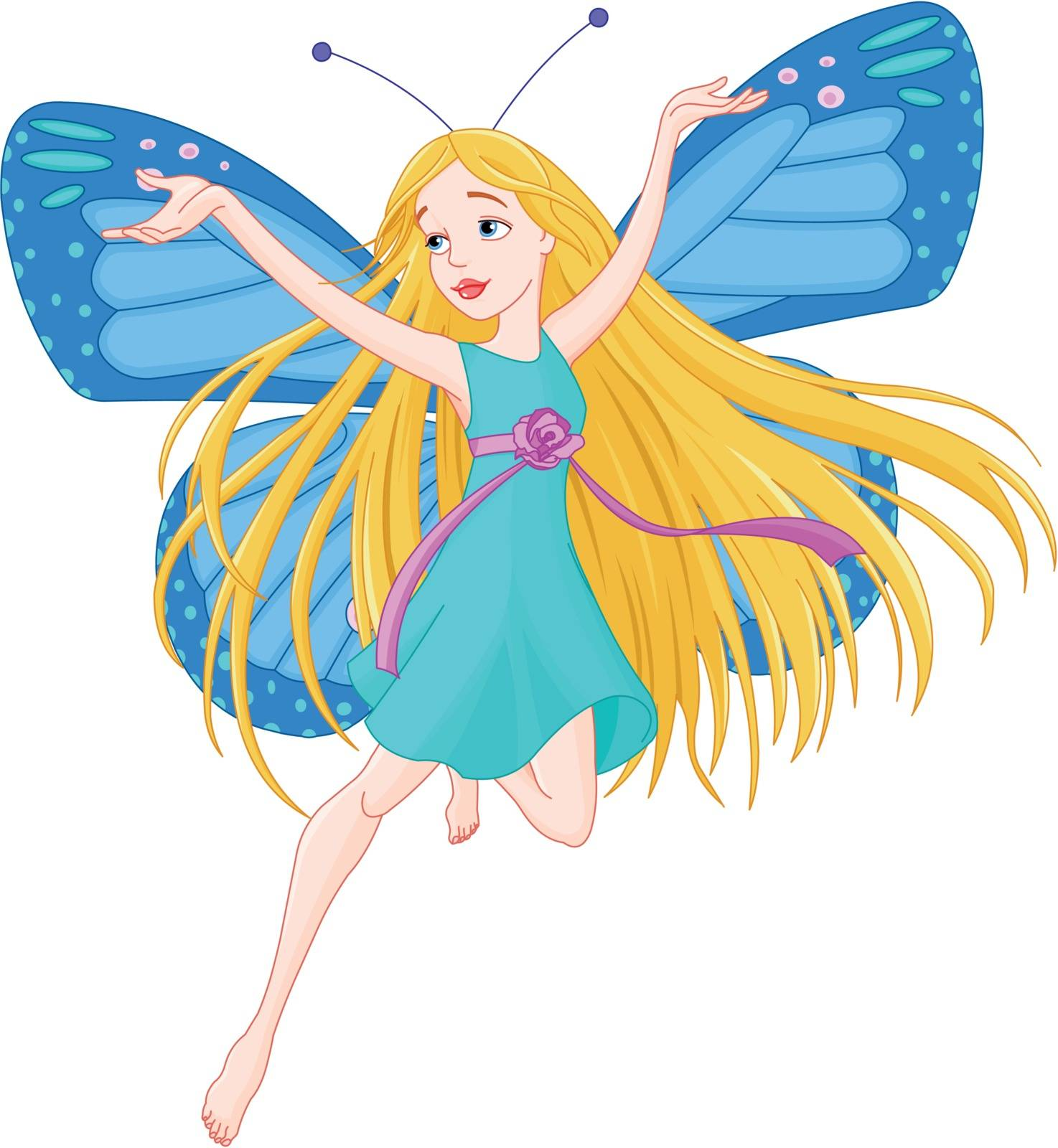 Illustration of flying beautiful fairy