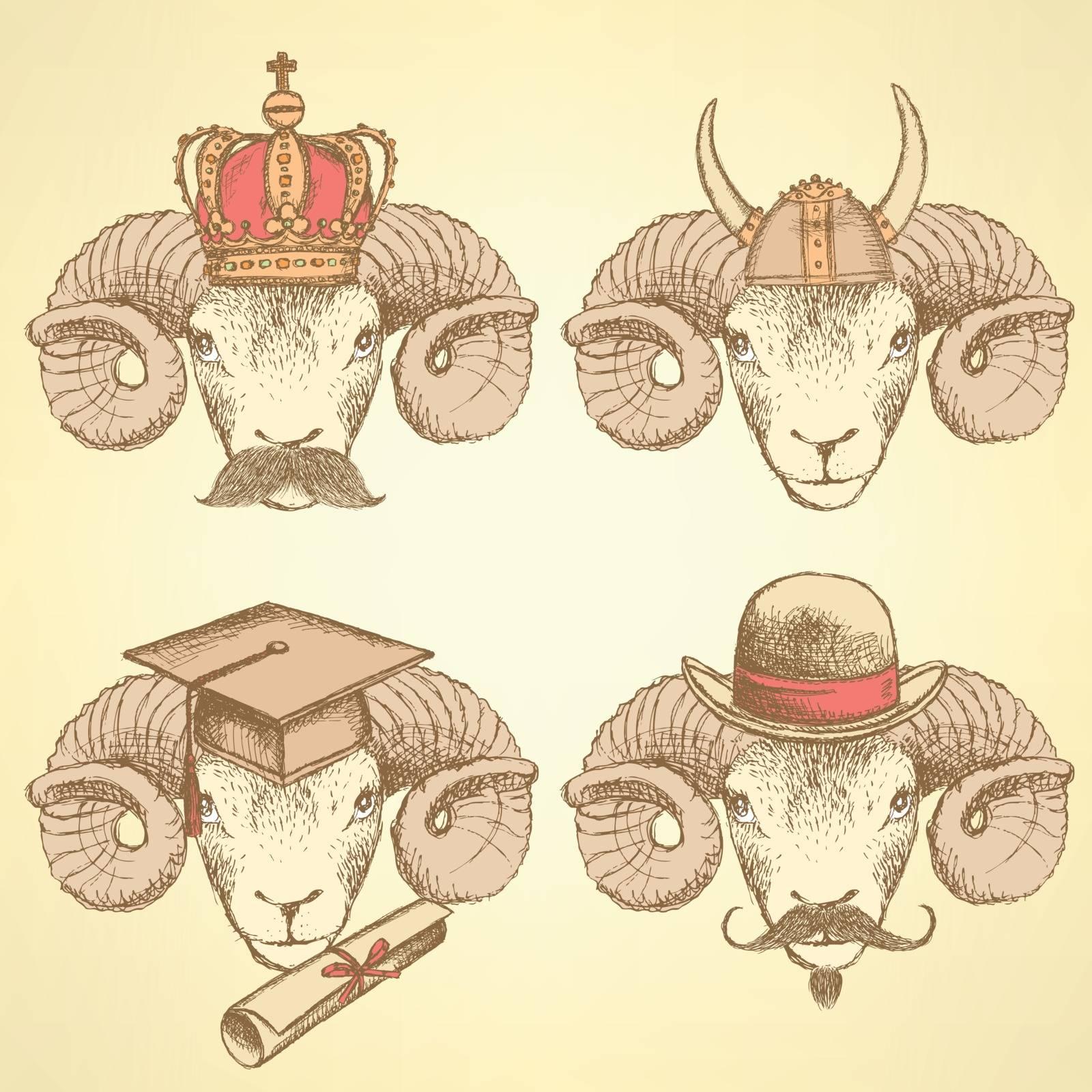 Sketch unusual rams set in vintage style