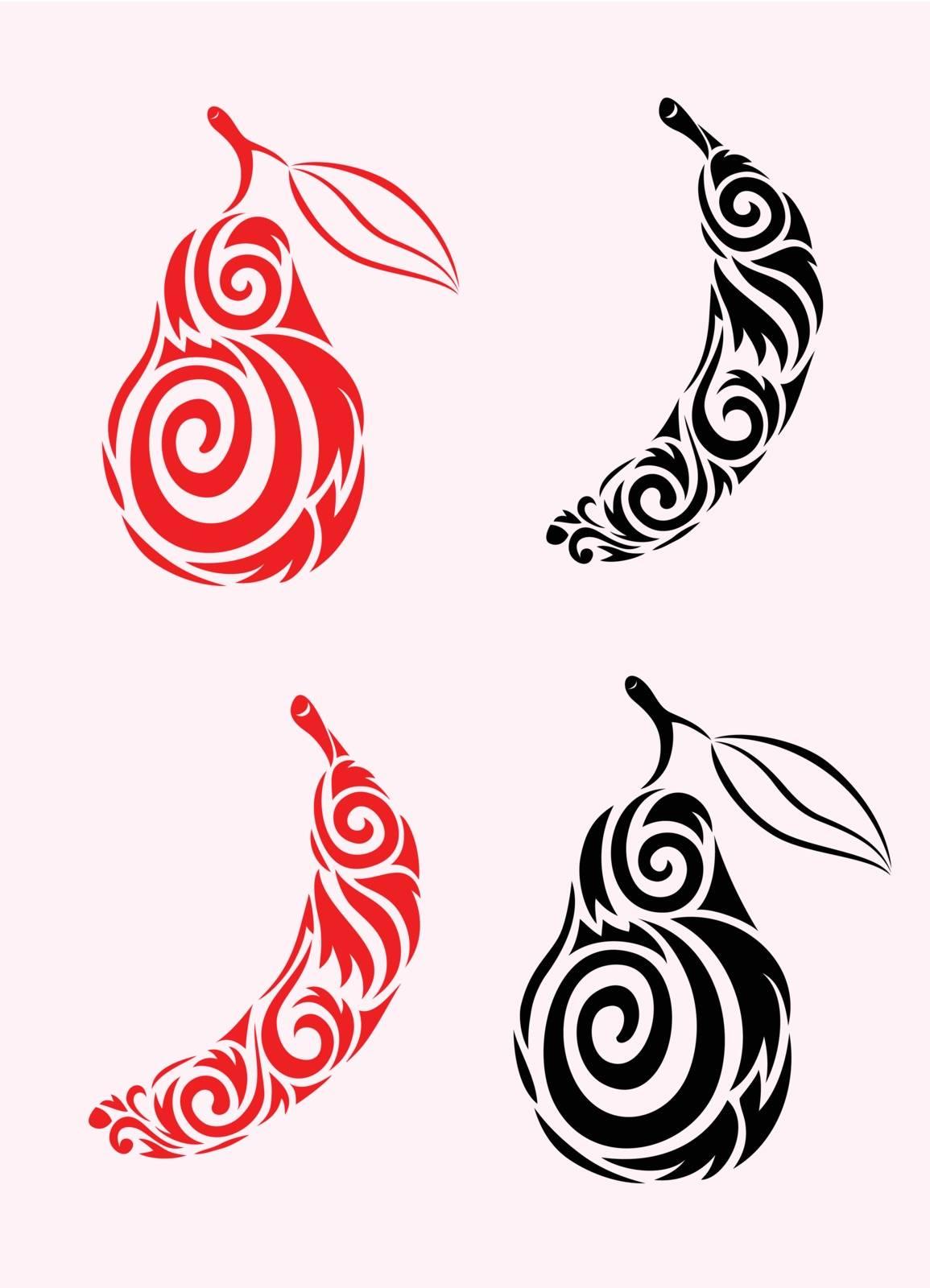 Banana and peer ornate, art vector decoration