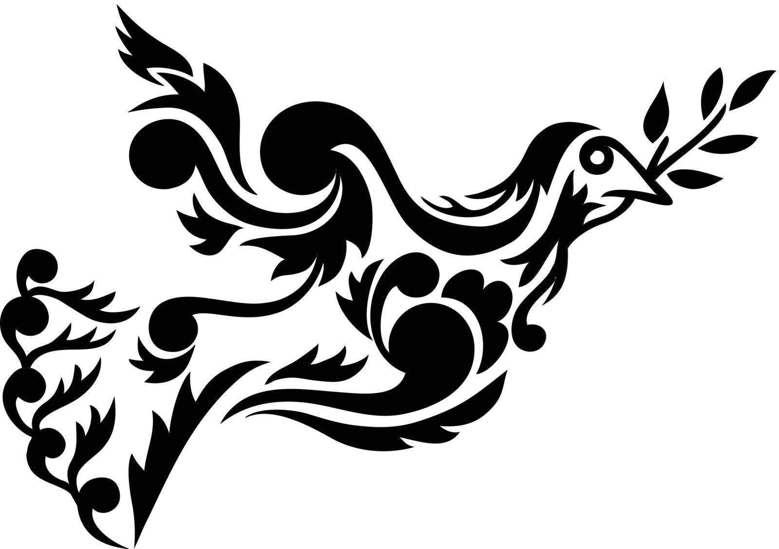 Dove flying floral ornament, art vector decoration