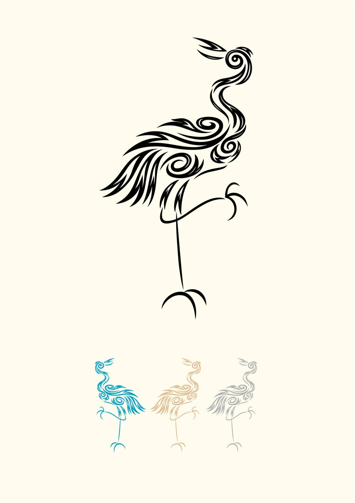 Egret heron bird ornament, art vector decoration