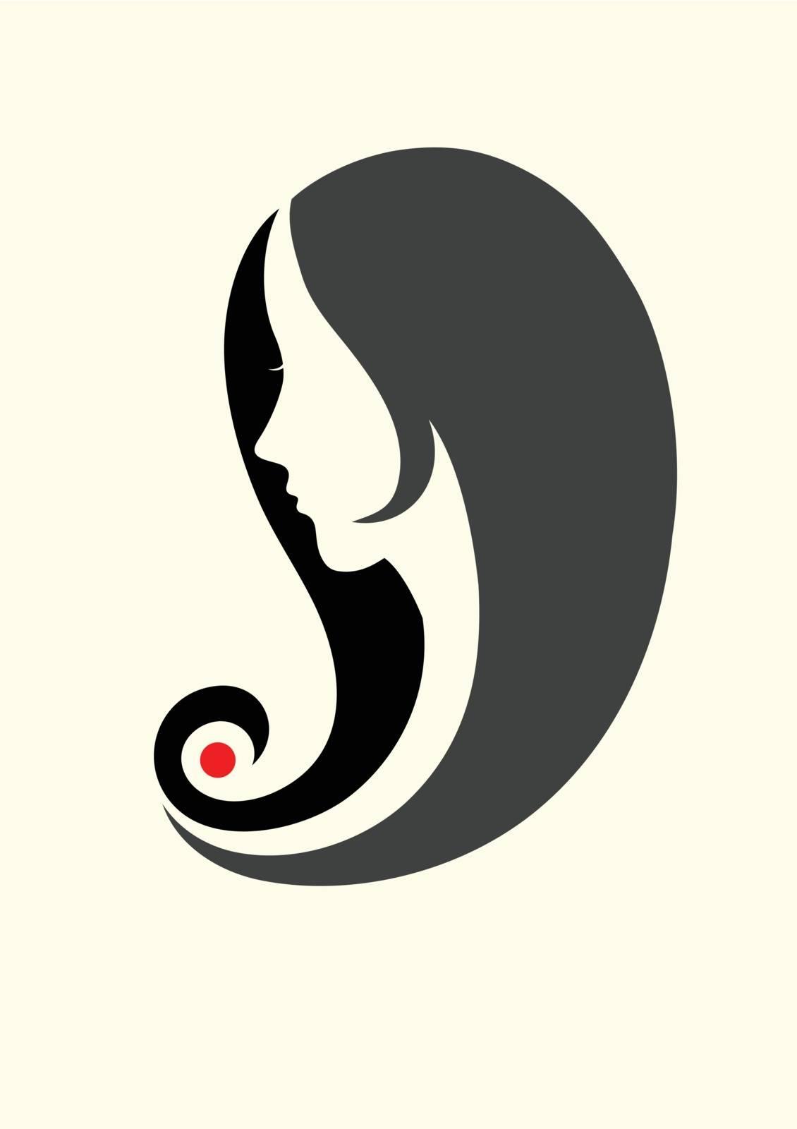 Beauty hair style icon, art vector logo design