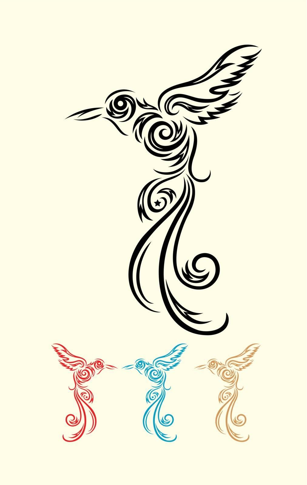 Humming bird ornate tribal tattoo, art vector decoration