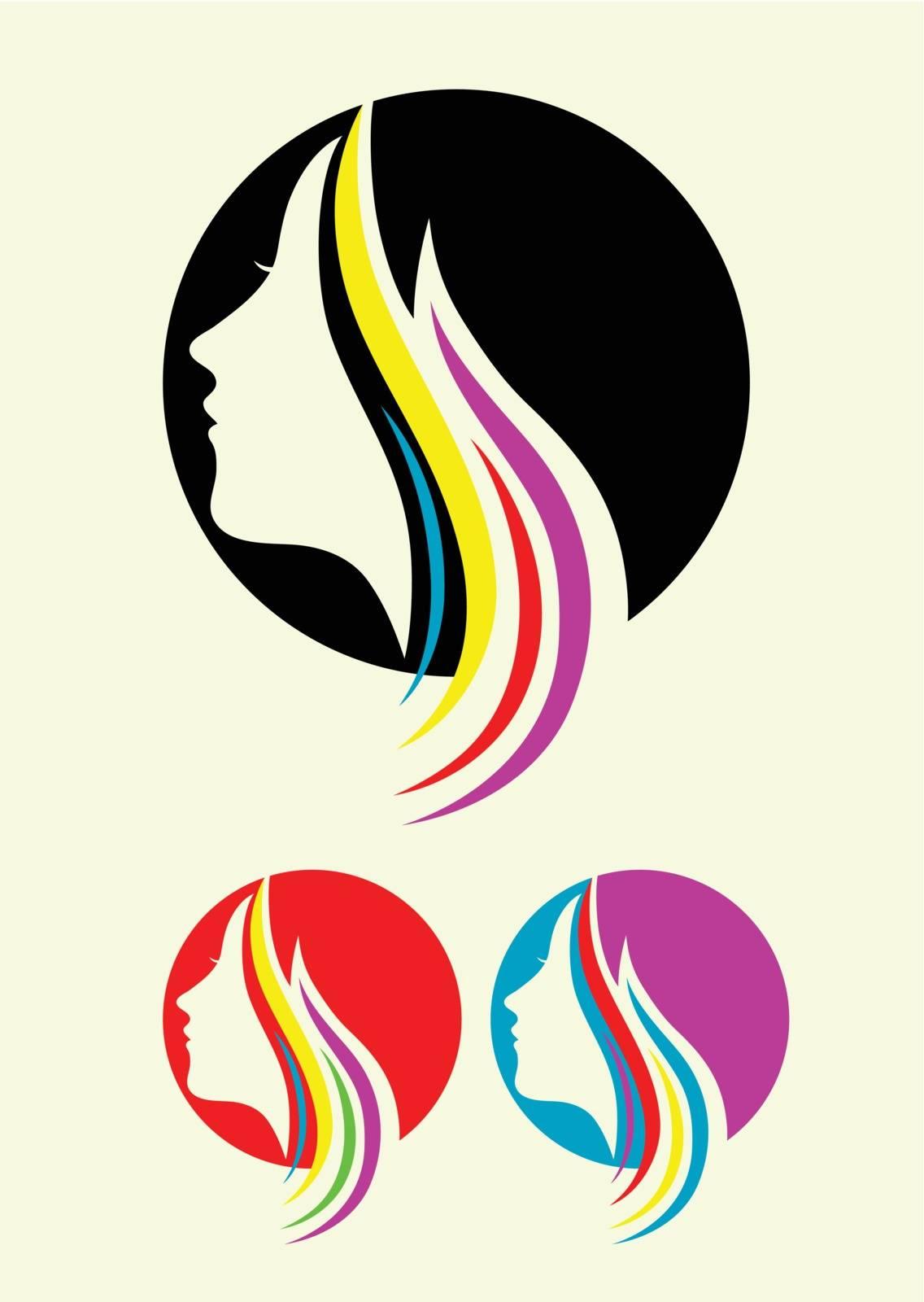Beauty hair style icon, art vector design