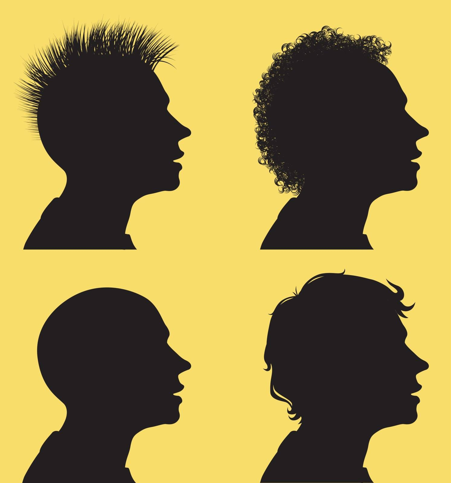 Profile silhouettes of men and 3 different hair styles. Eps8 CMYK Organized by layers Gradients free