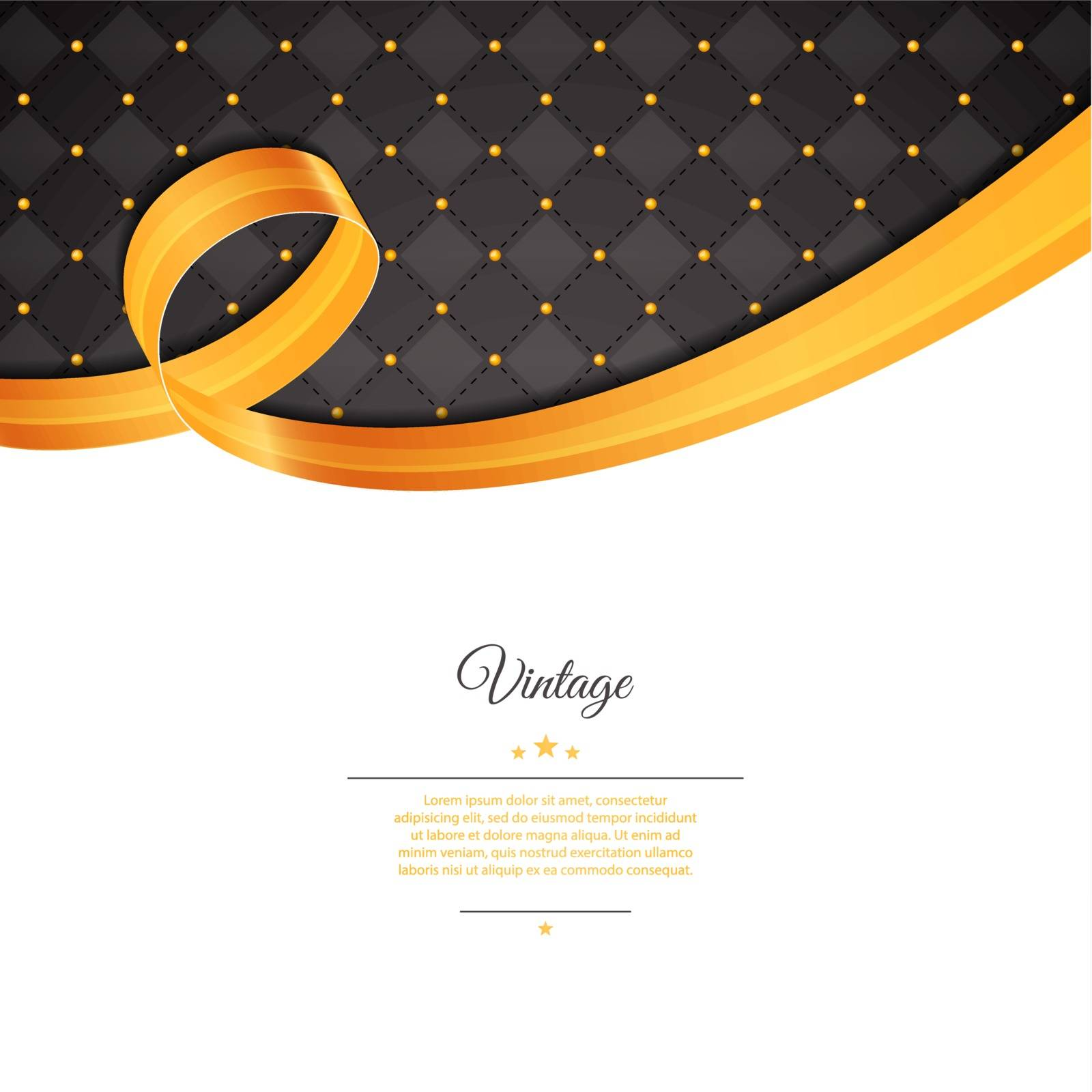 Vector illustration of Vintage template with gold ribbon