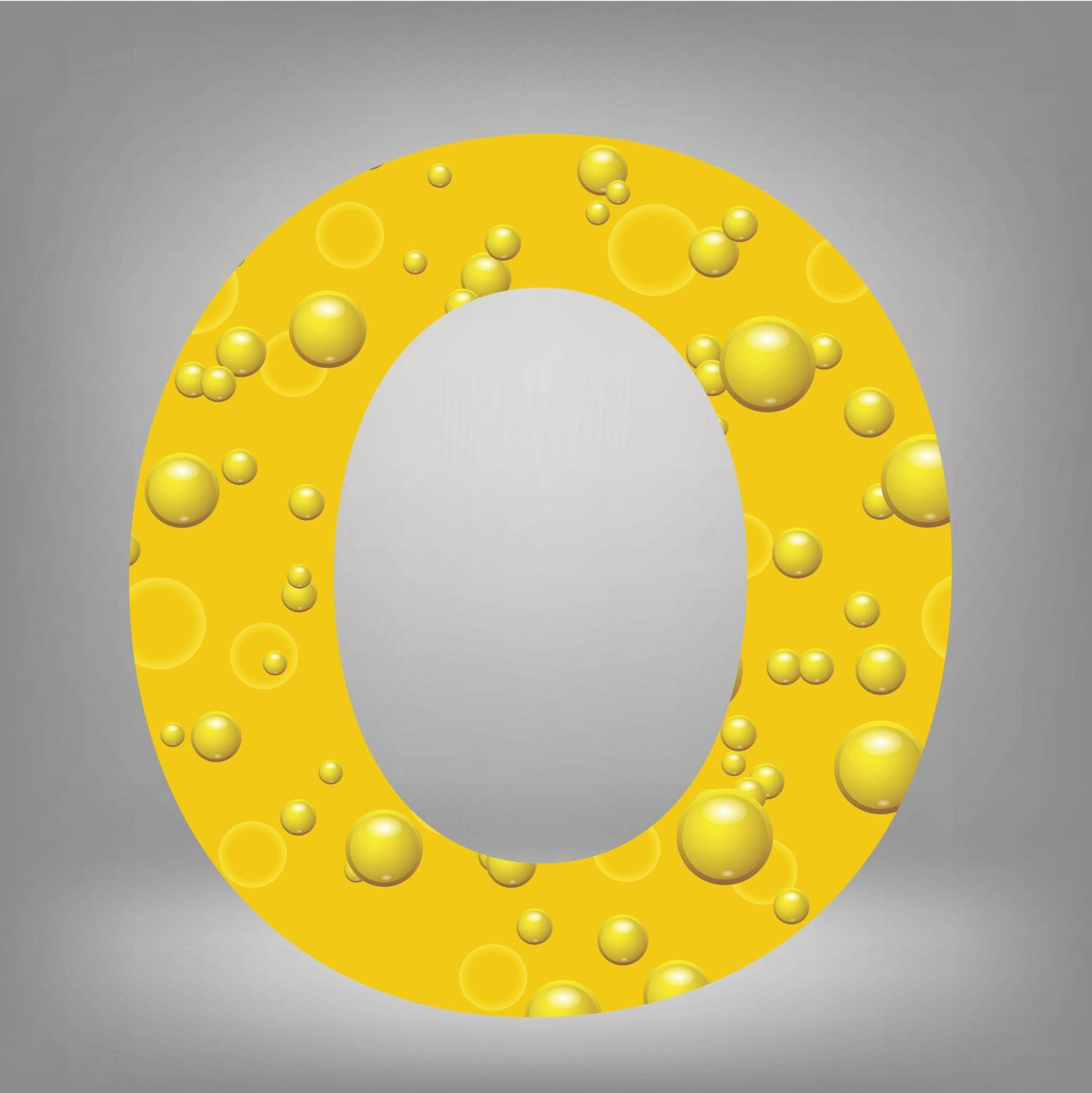 colorful illustration with beer letter O on a grey background