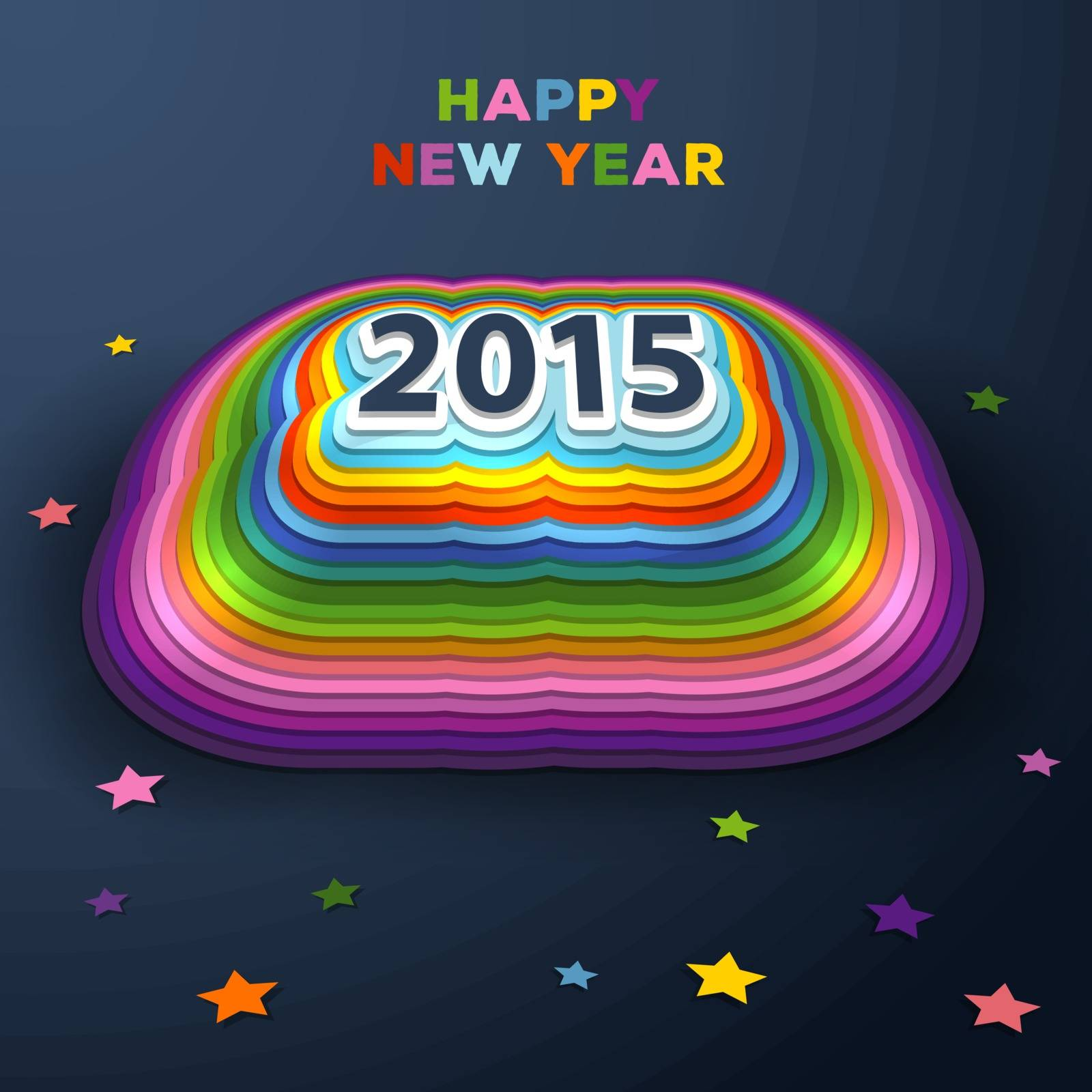 Vector illustration of 2015 colorful paper decor
