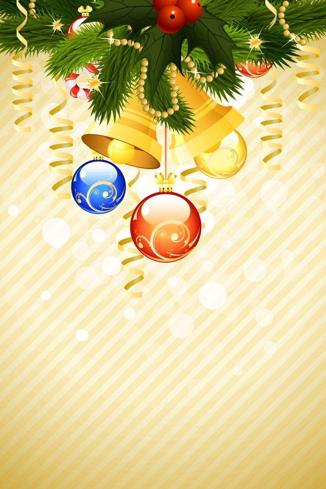 Christmas Card Template with fir-tree mistletoe decoration and bells