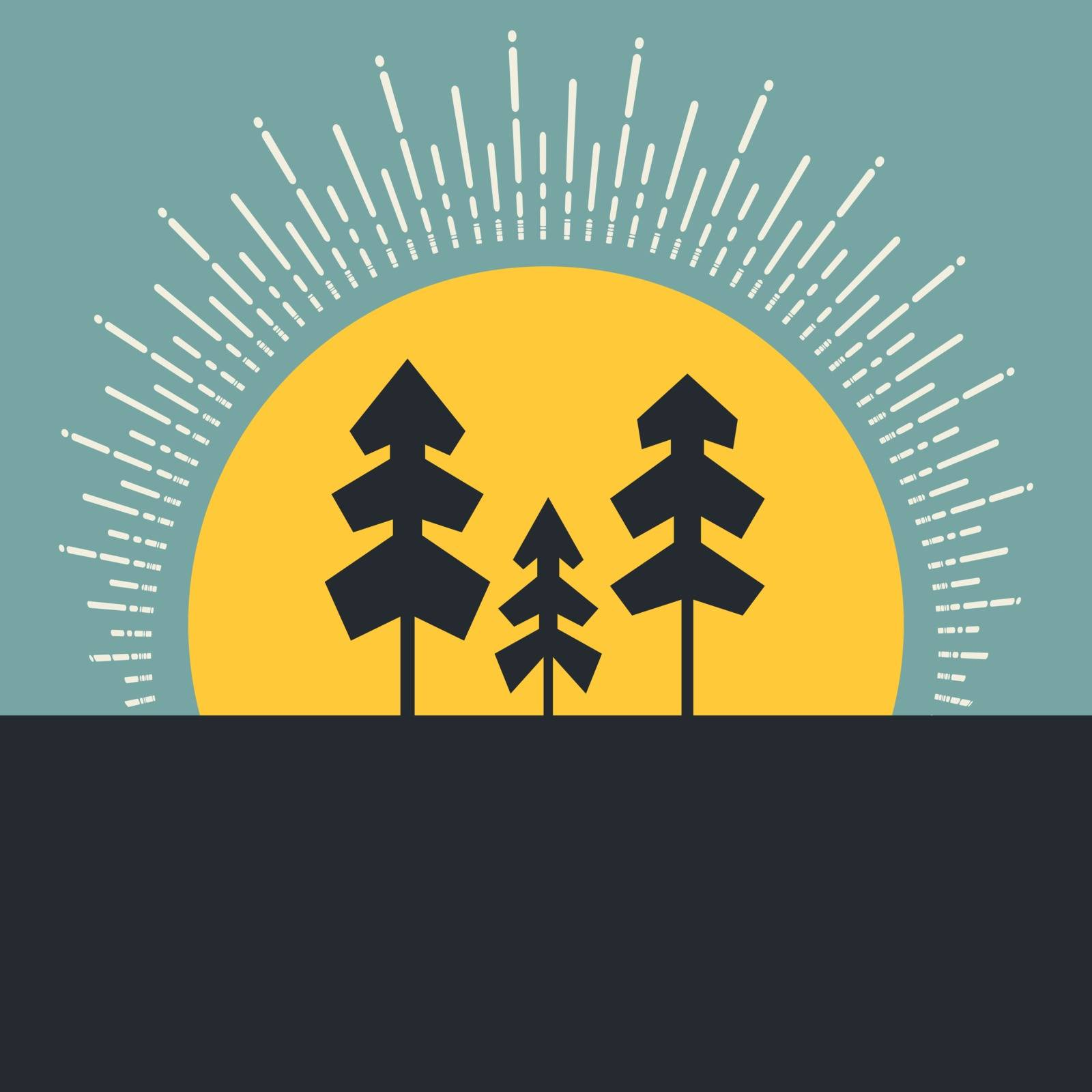 Modern concept of outdoor - forest and sunrise made in vector. Trees and sun, natural template for your design.