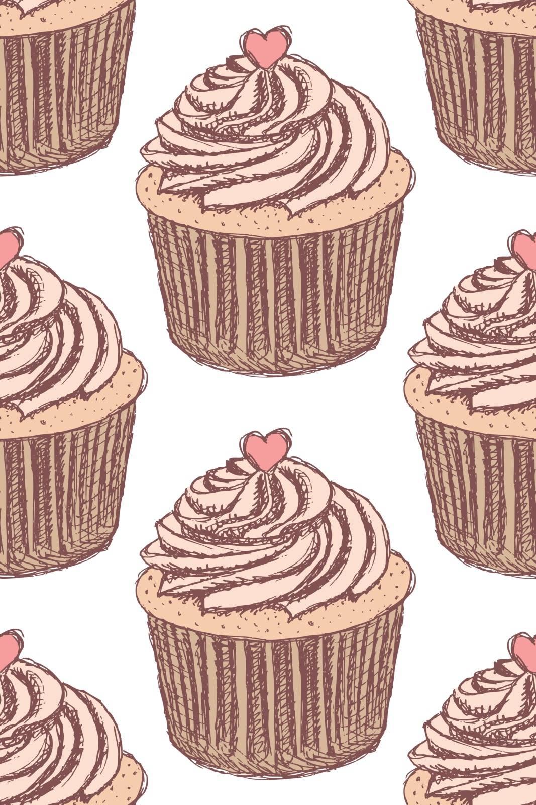 Sketch tasty cupcke in vintage style, vector seamless pattern