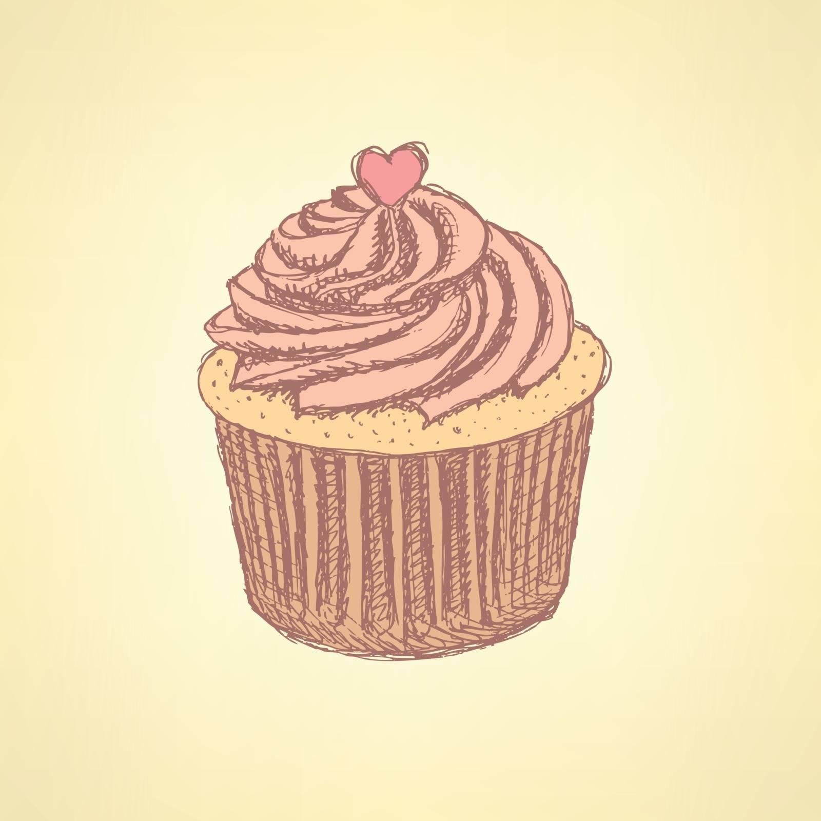 Sketch tasty cupcke in vintage style, vector background