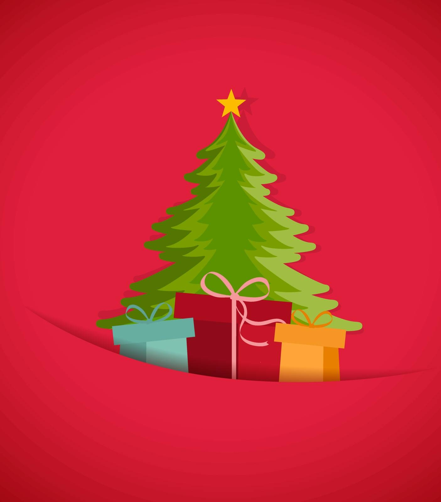 Colored decorative christmas tree, vector Christmas card