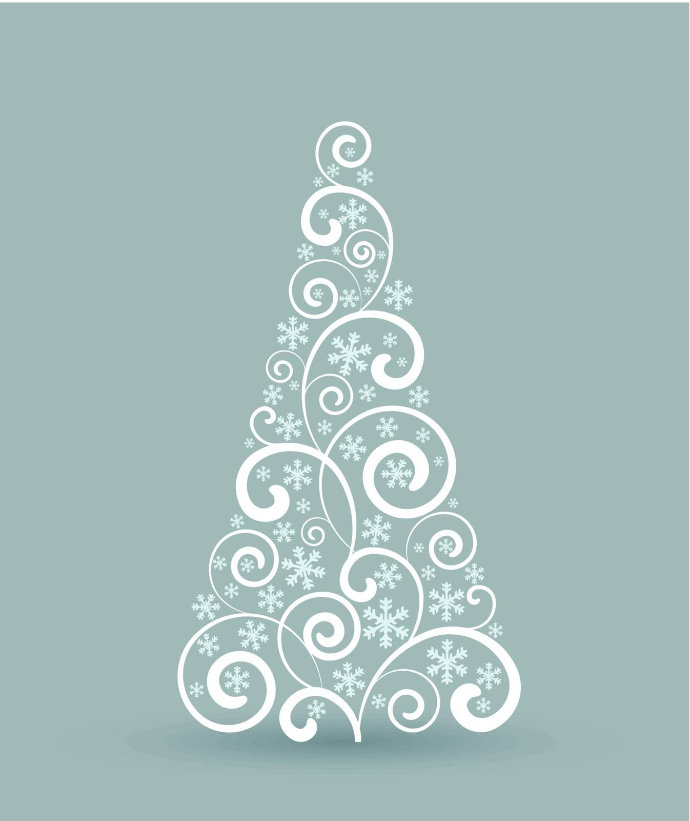 Decorating a Christmas tree with ornaments, Christmas card