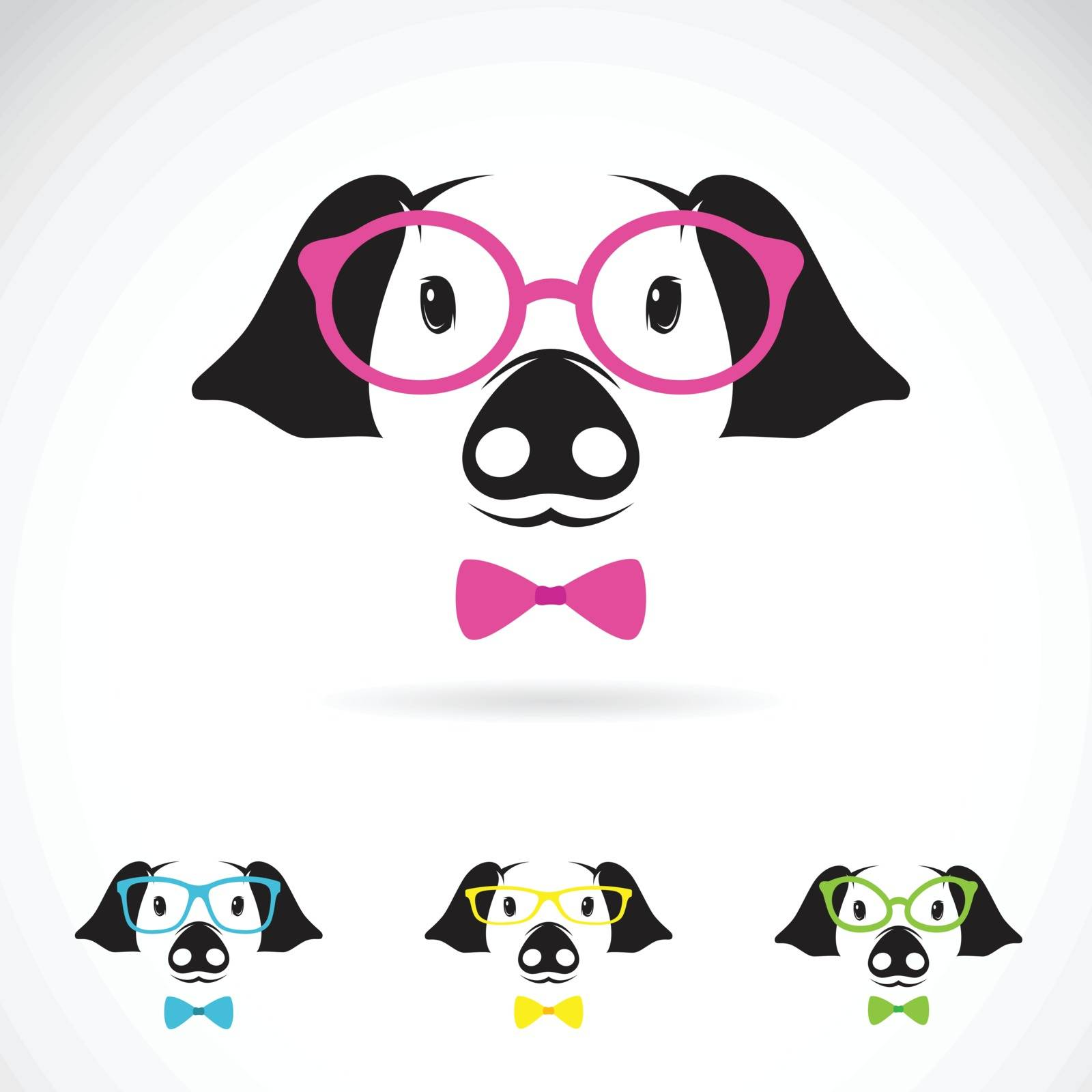 Vector image of a pig glasses on white background. Fashion