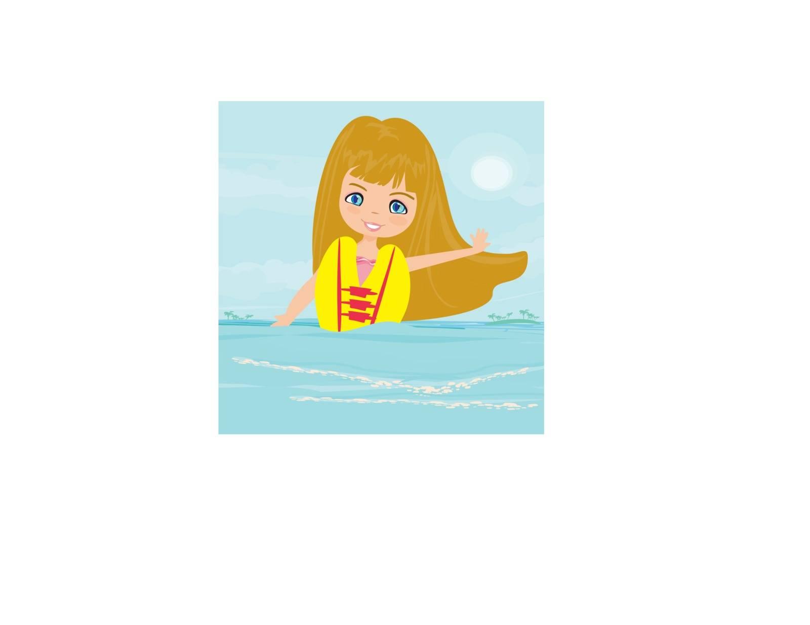Happy girl in lifejacket