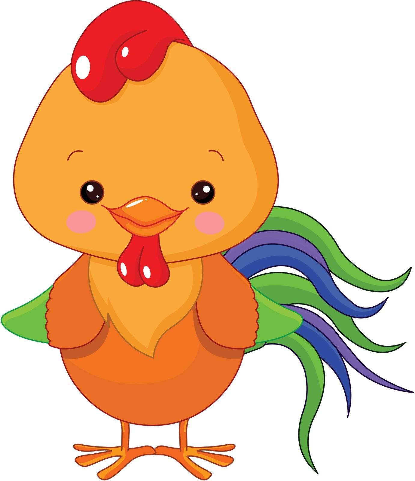 Illustration of cute motley cockerel