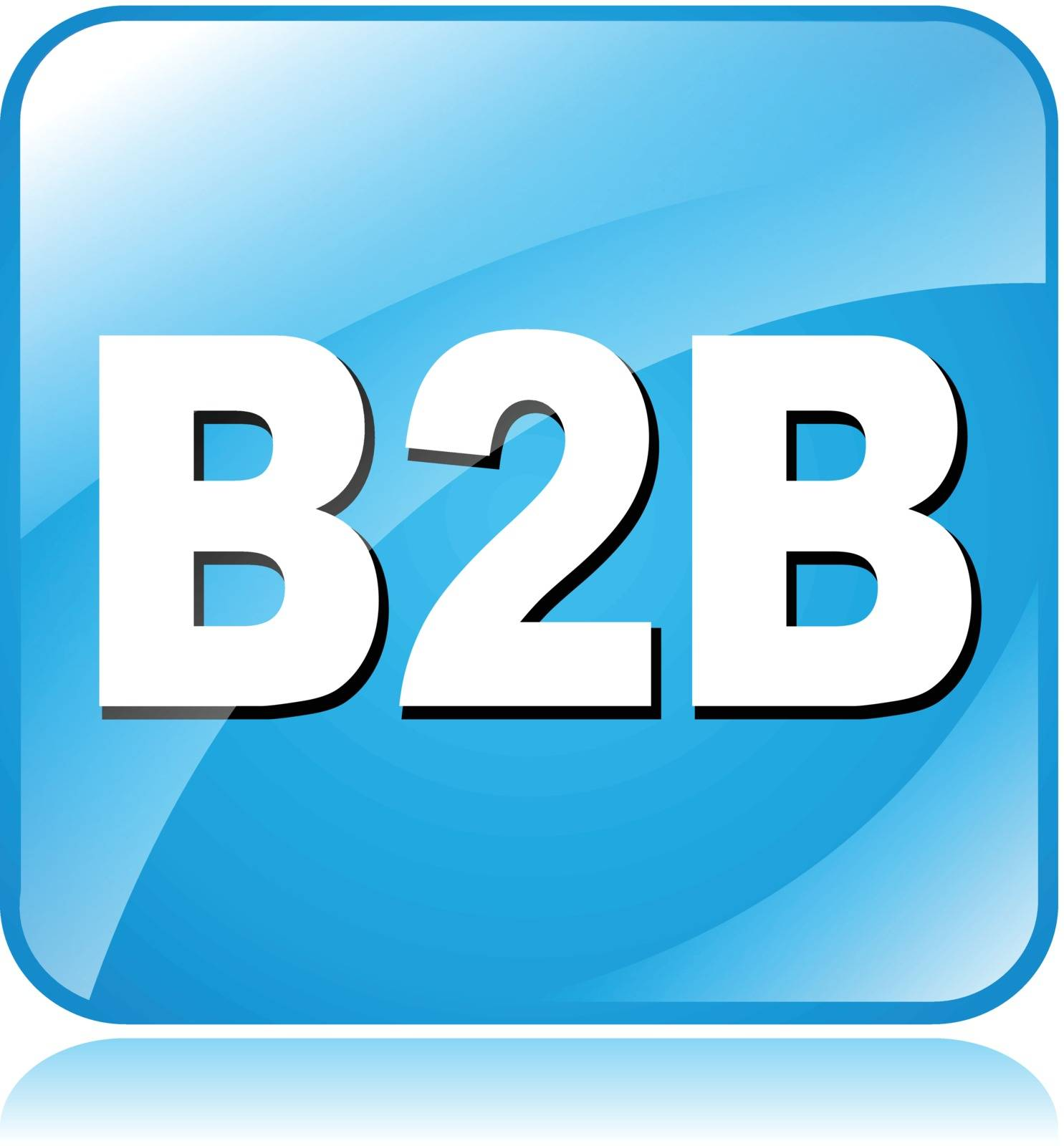 illustration of blue square icon for business to business