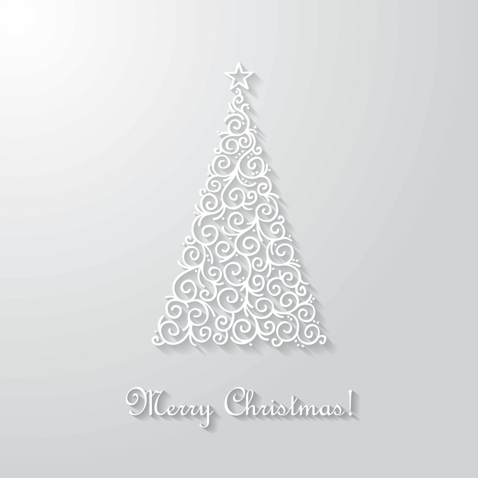 Vector card with christmas tree.
