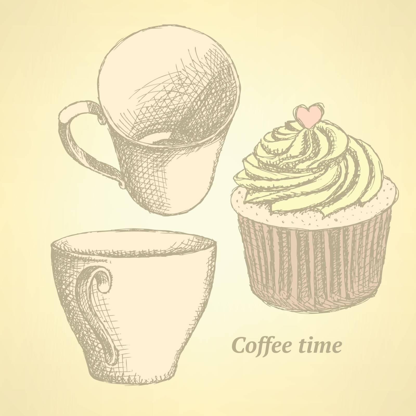 Sketch coffee set in vintage style, vector
