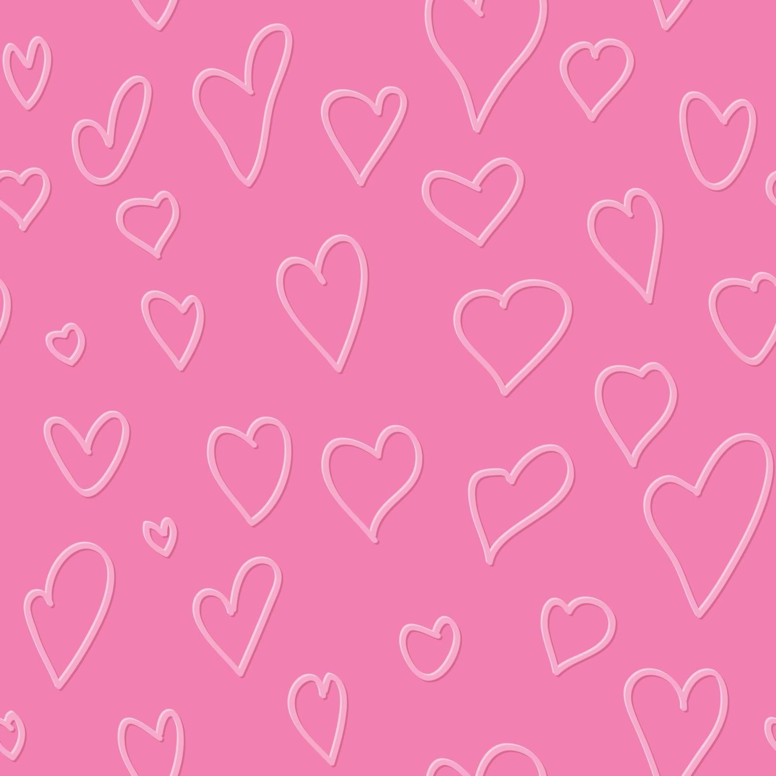 Sketch heart in vintage style, seamless pattern