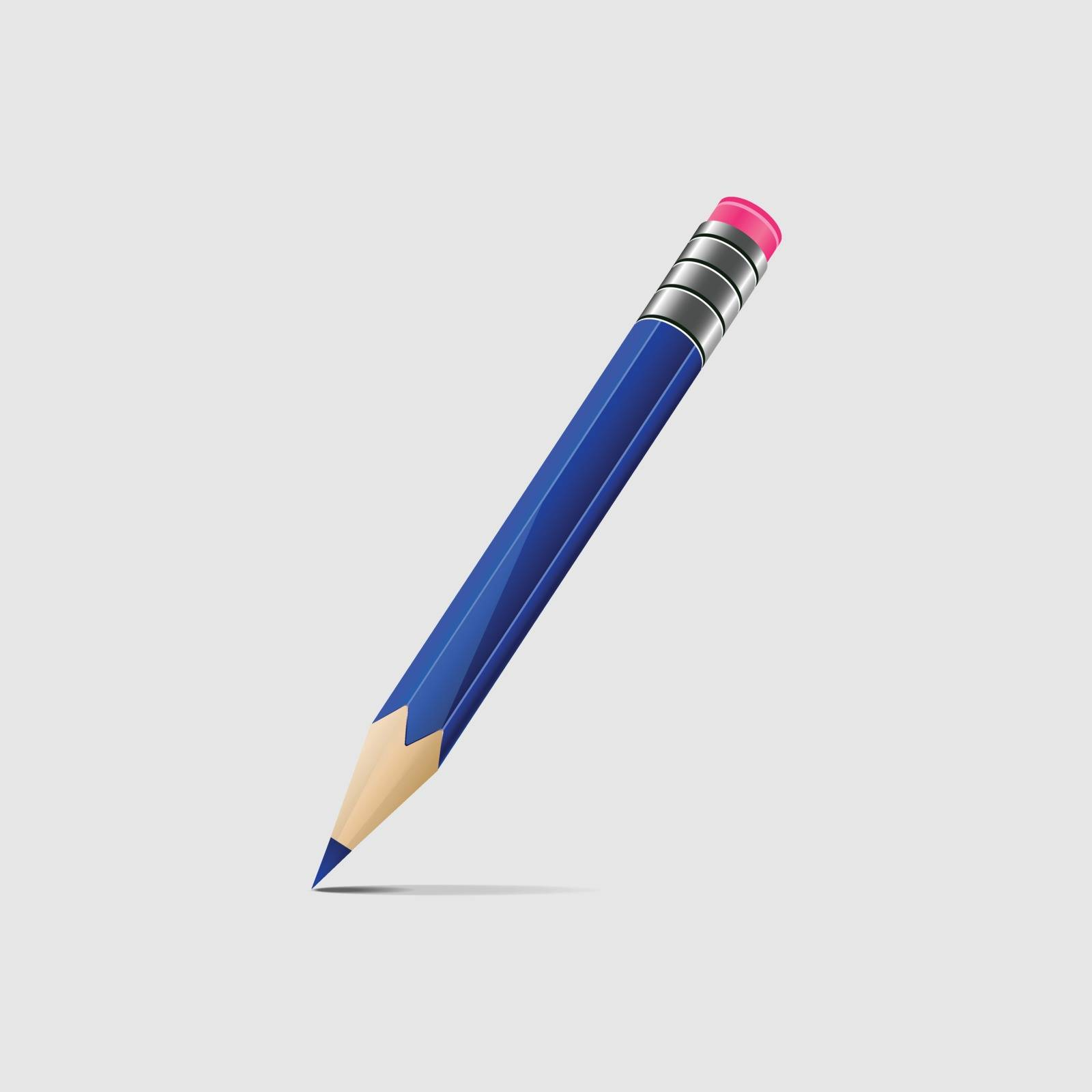 Illustration of a blue pencil isolated on light grey background