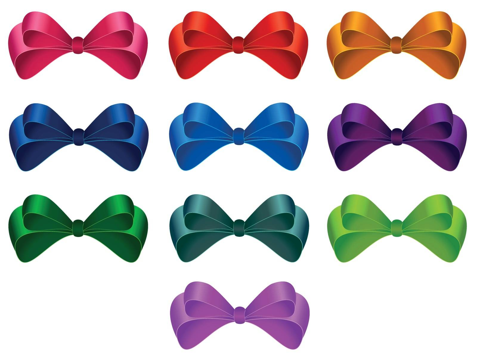 Set of colorful bows on white background.