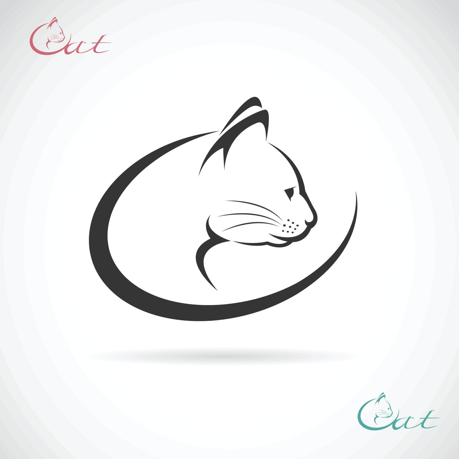 Vector image of an cat design on white background.