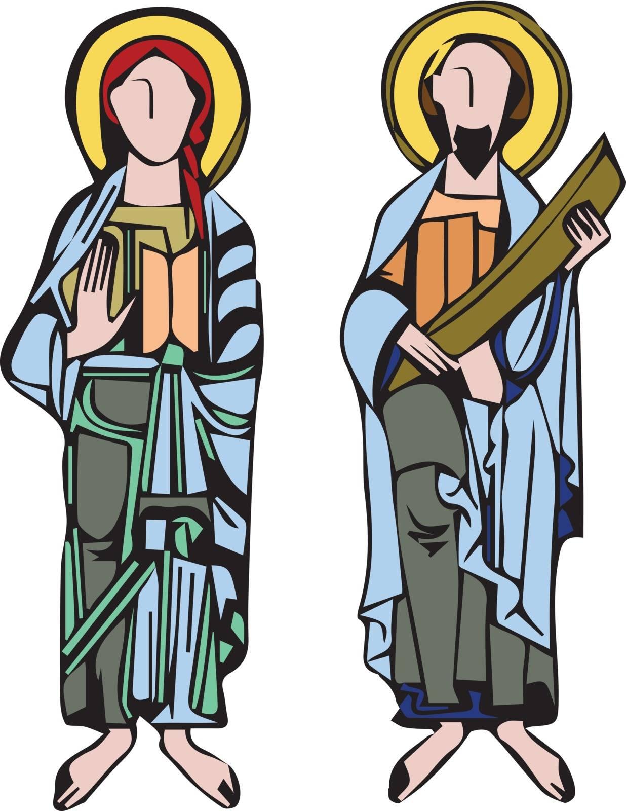 Saint figures. Vector illustration Eps 10
