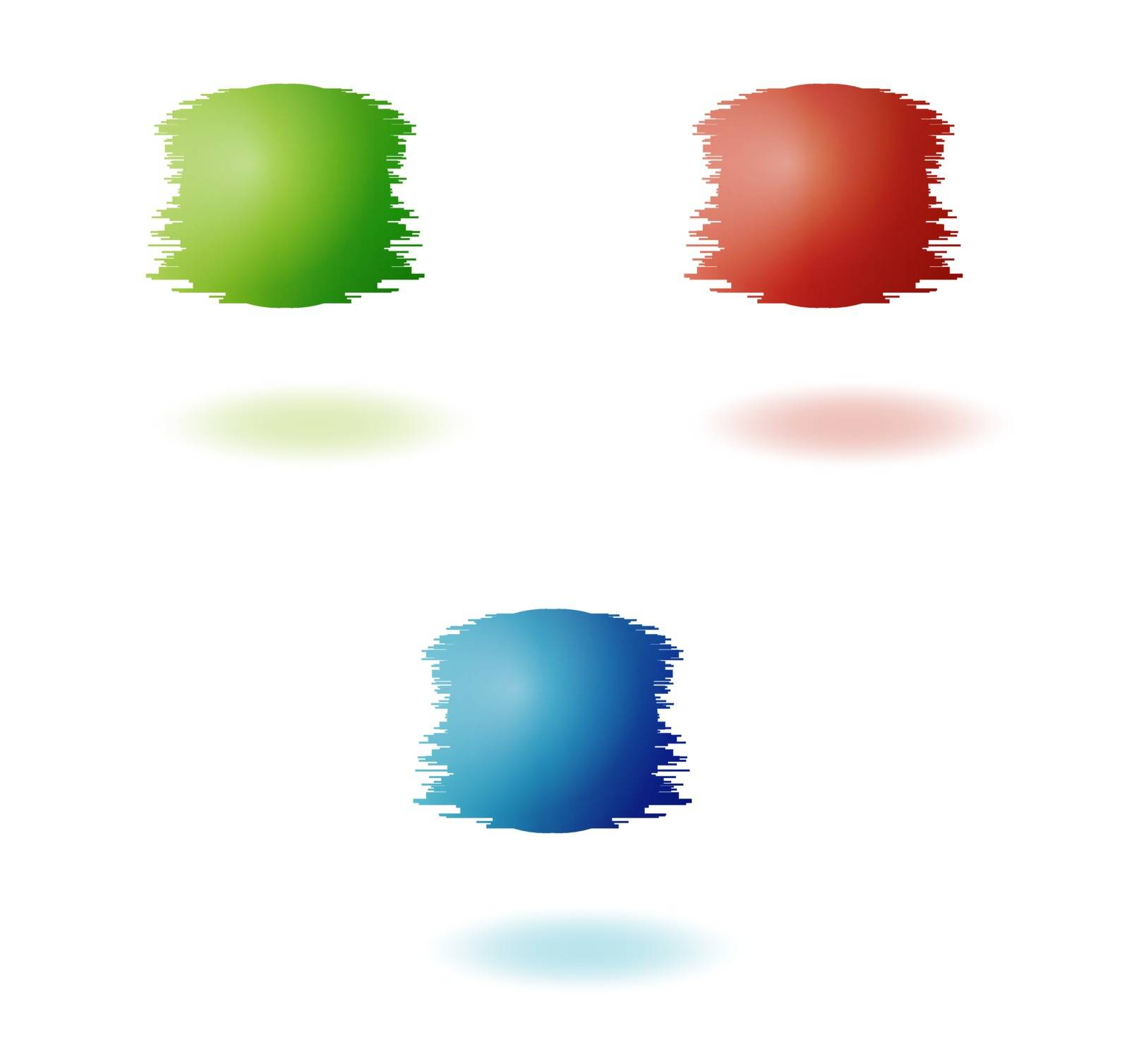 color jagged balls in red green and blue color on white background