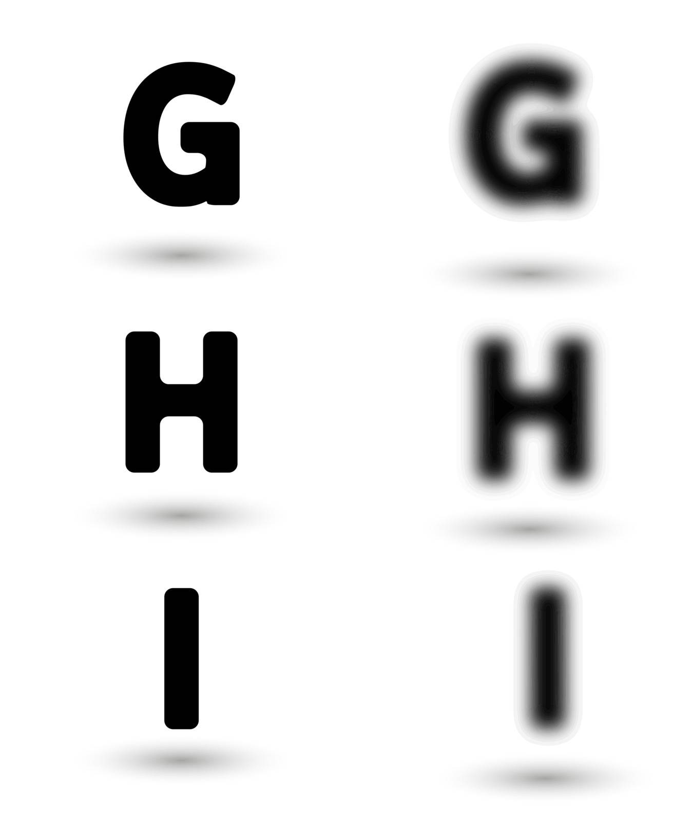 sharp and unsharp alphabet letters with shadow / font. Sharp as a symbol of good sight and unsharp as a symbol for bad eyes and needed of glasses.
