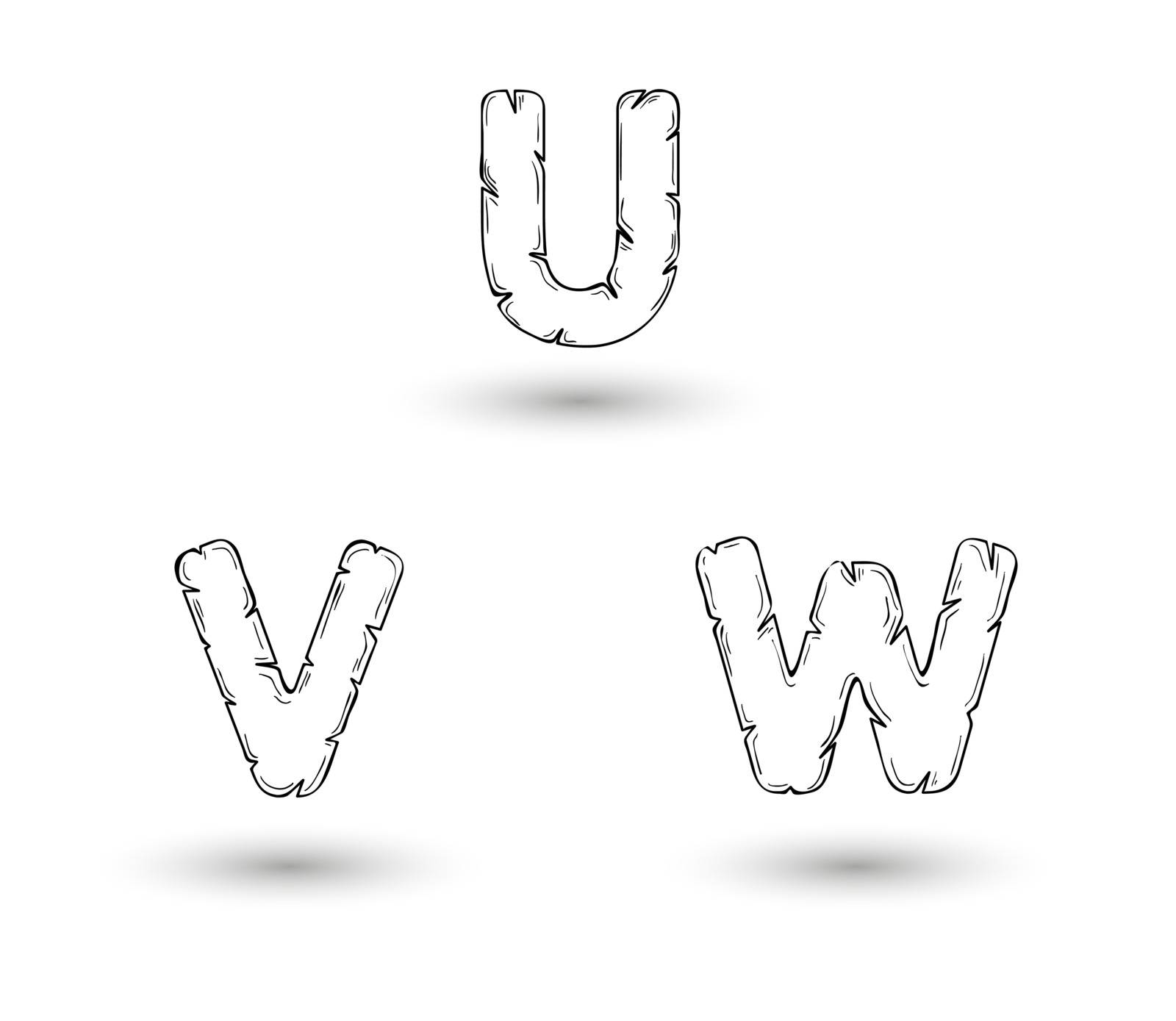 sketch jagged alphabet letters with shadow on white background, X, Y, Z
