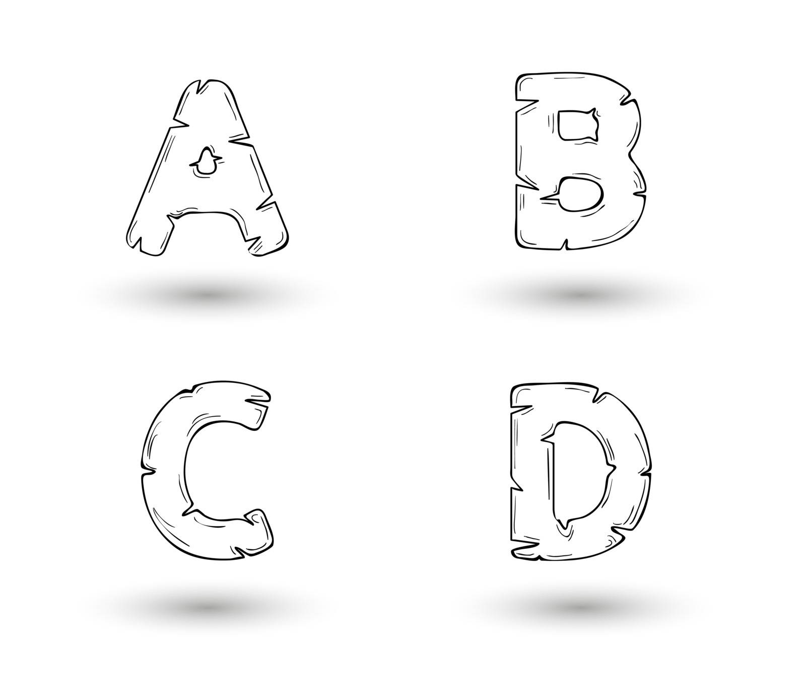sketch jagged alphabet letters with shadow on white background, A, B, C, D