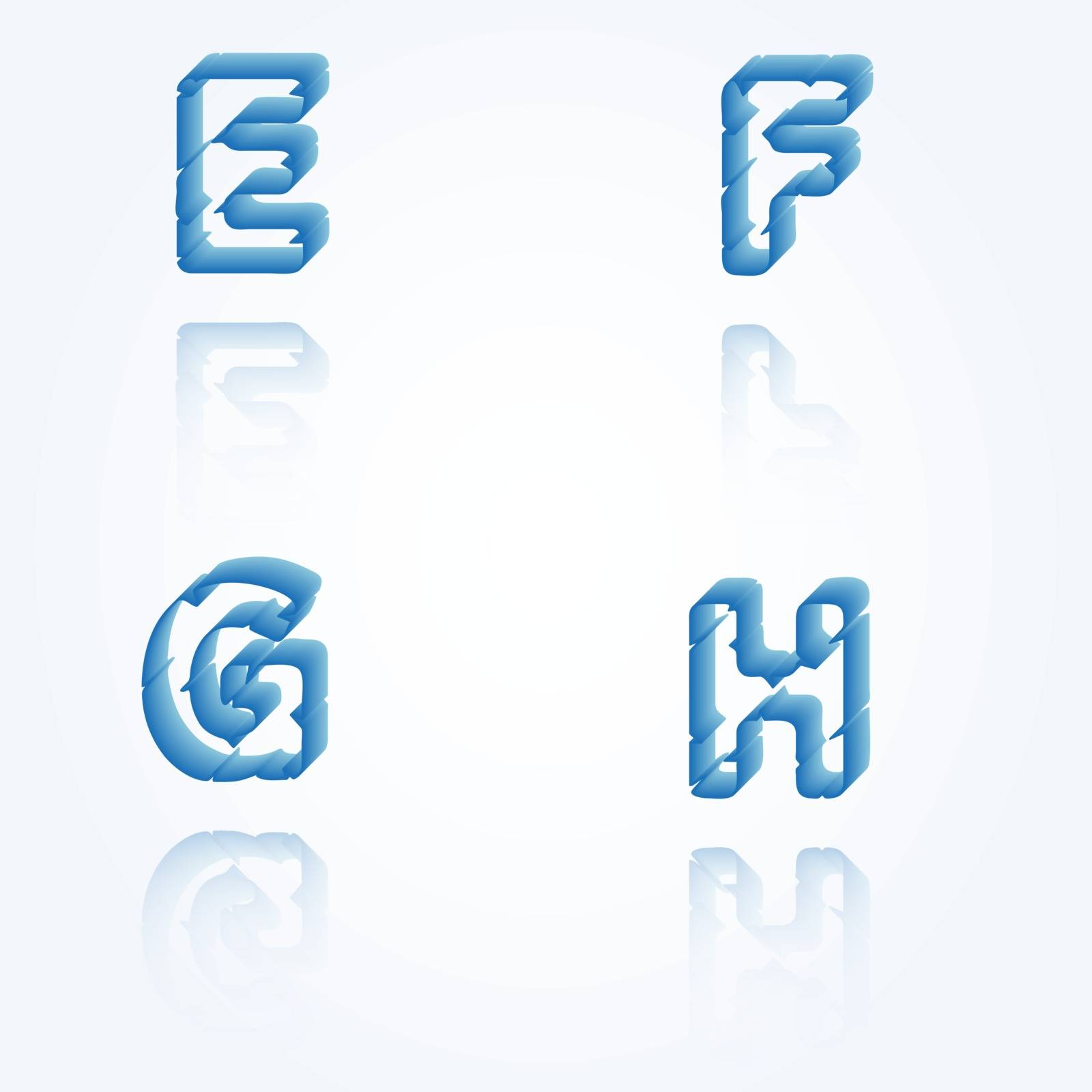 sketch jagged alphabet letters with 3d effect and shadow on white background, E, F, G, H