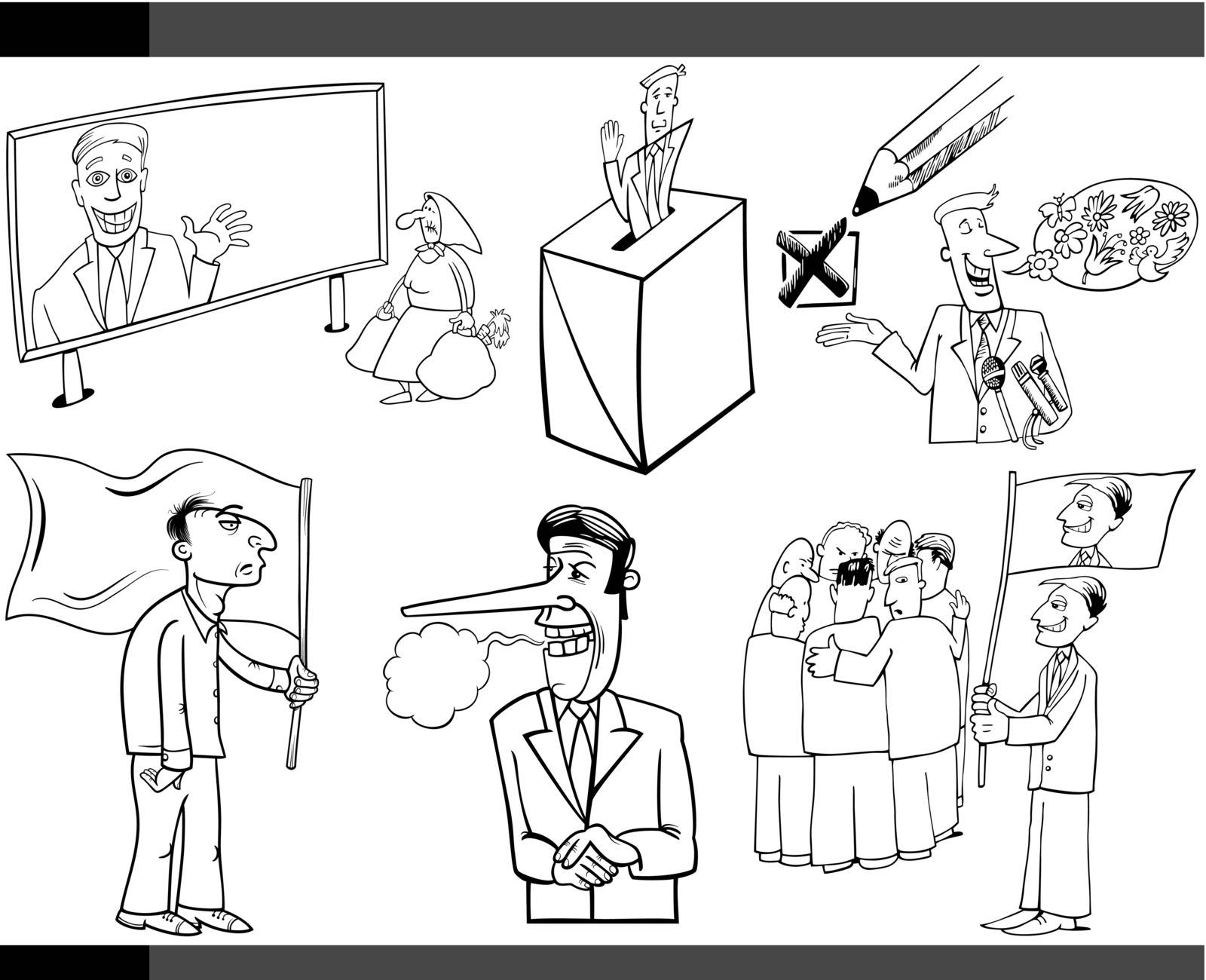 Black and White Illustration Set of Humorous Cartoon Concepts or and Metaphors of Politics and Democracy