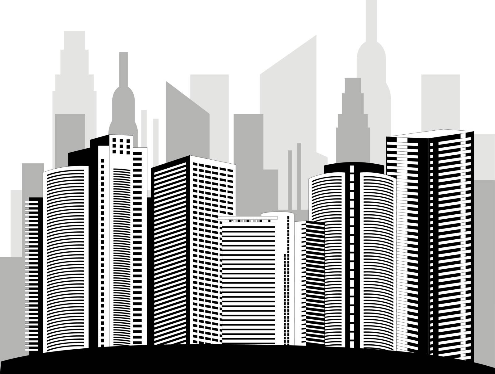Modern metropolis city skyscrapers skyline with reflection