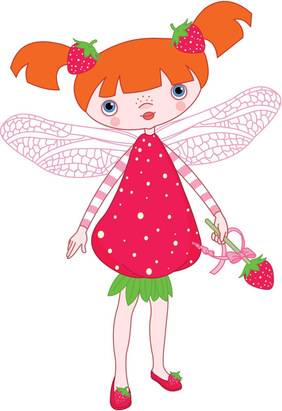 Illustration of cute strawberry fairy