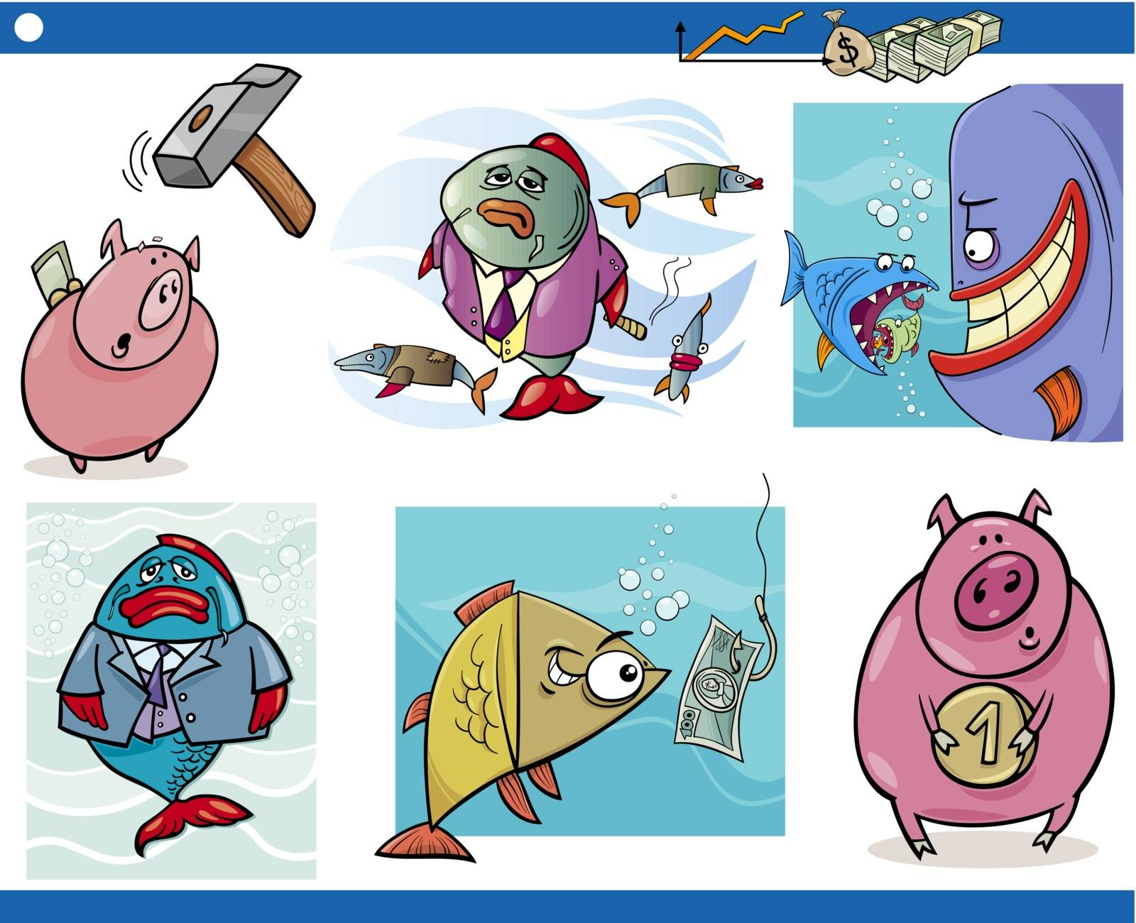 Cartoon Illustration Set of Business Concepts and Metaphors