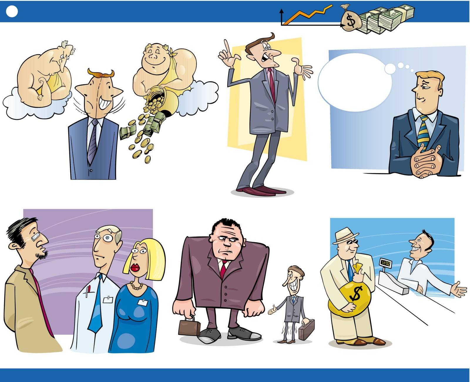 Cartoon Illustration Set of Funny Businessmen and Business Concepts and Metaphors