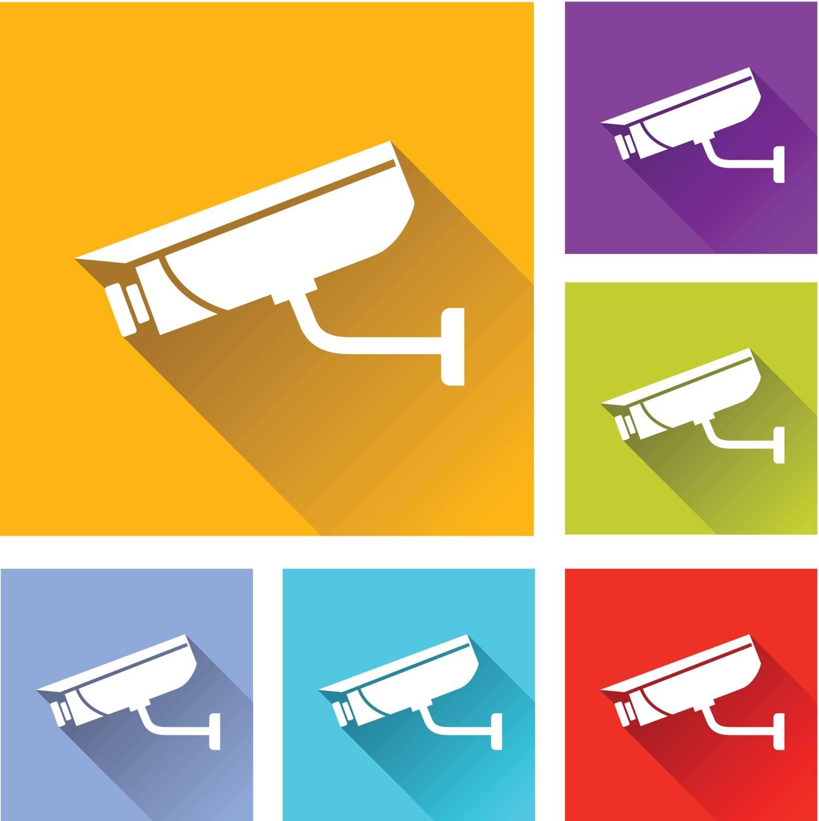 illustration of flat design set icons for video surveillance