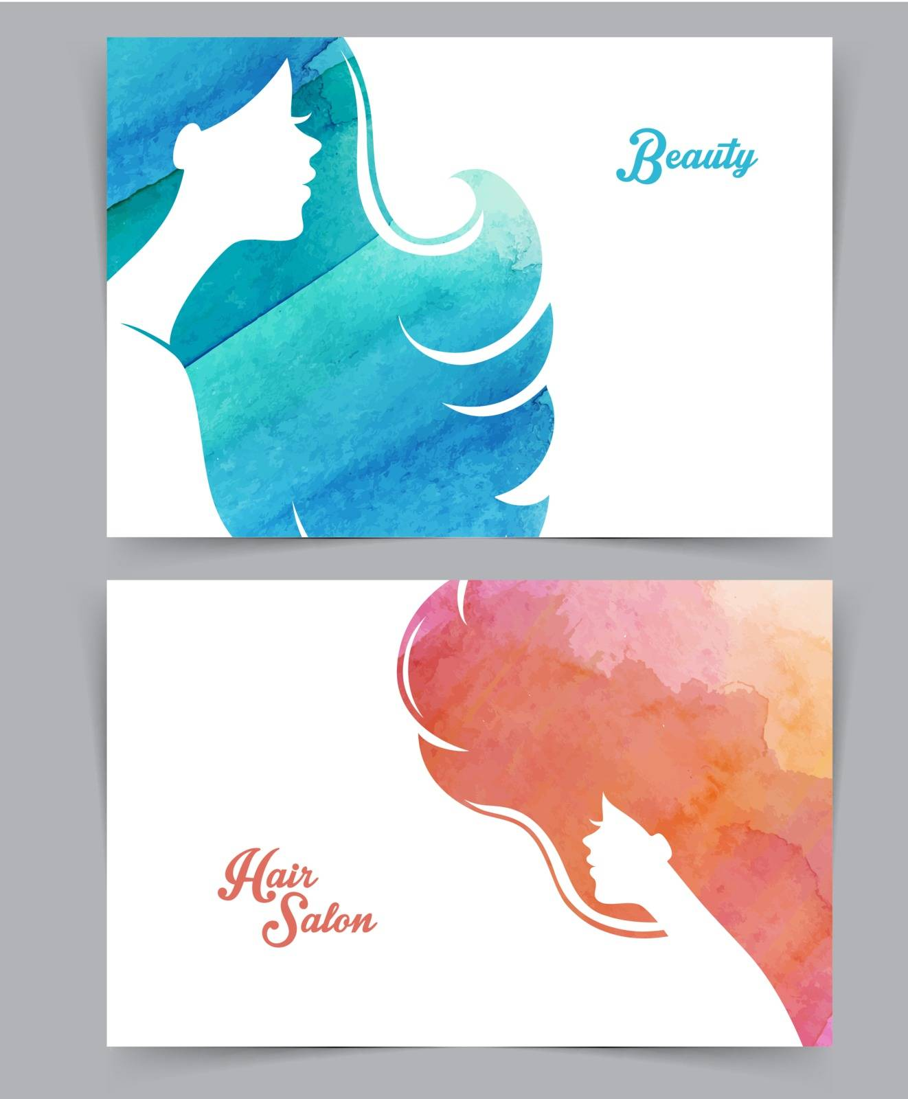 Vector illustration of Woman with watercolor hair
