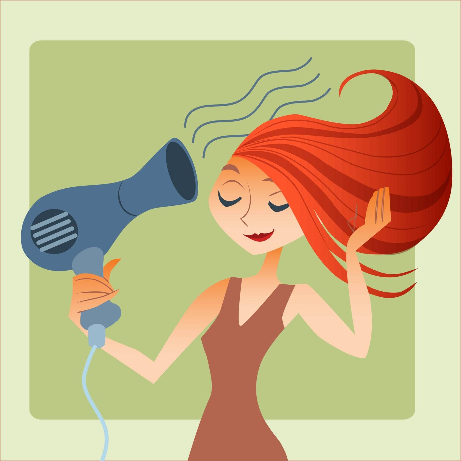 Young woman drying hair. Morning gathering for a date or a job