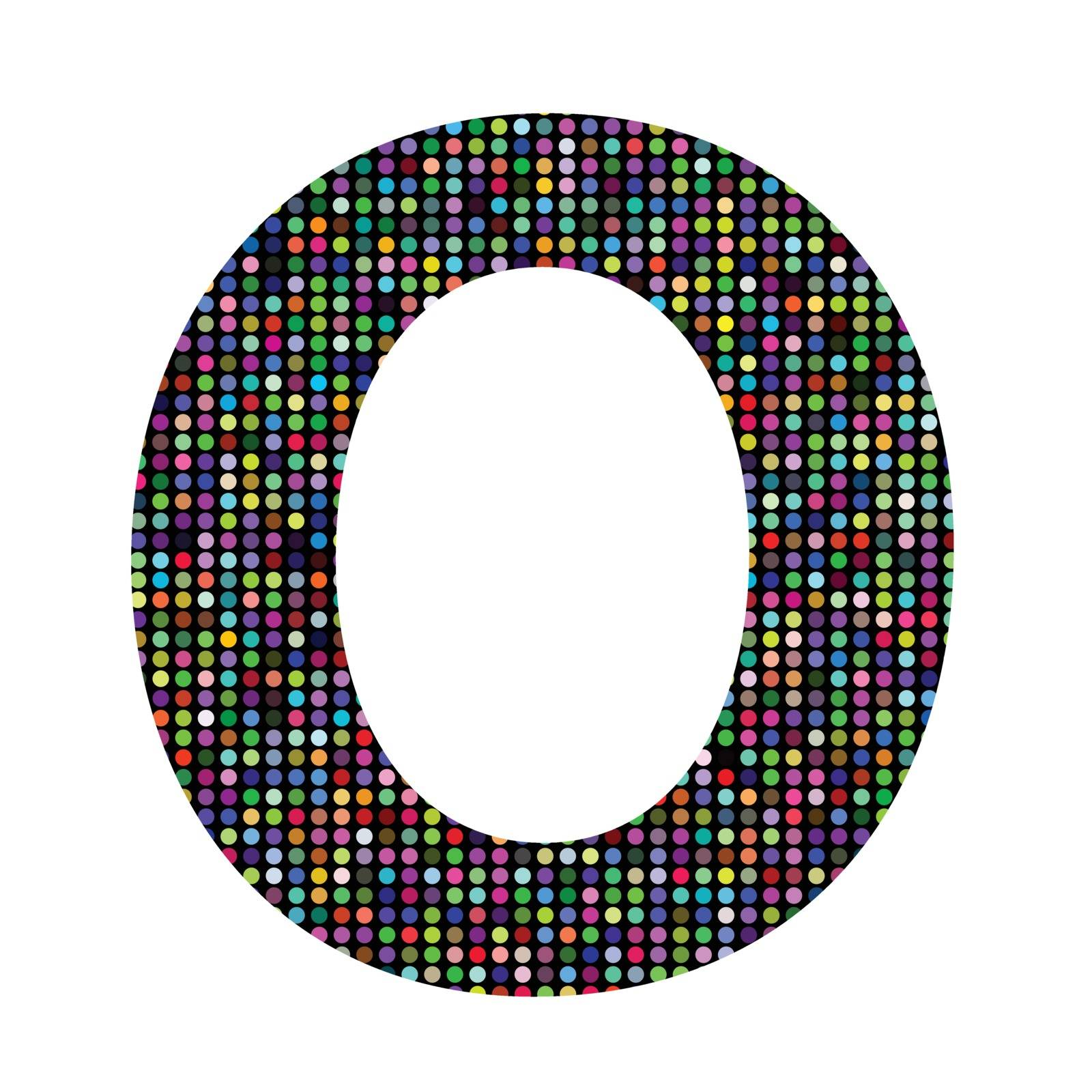colorful illustration with multicolor letter O on  a white background