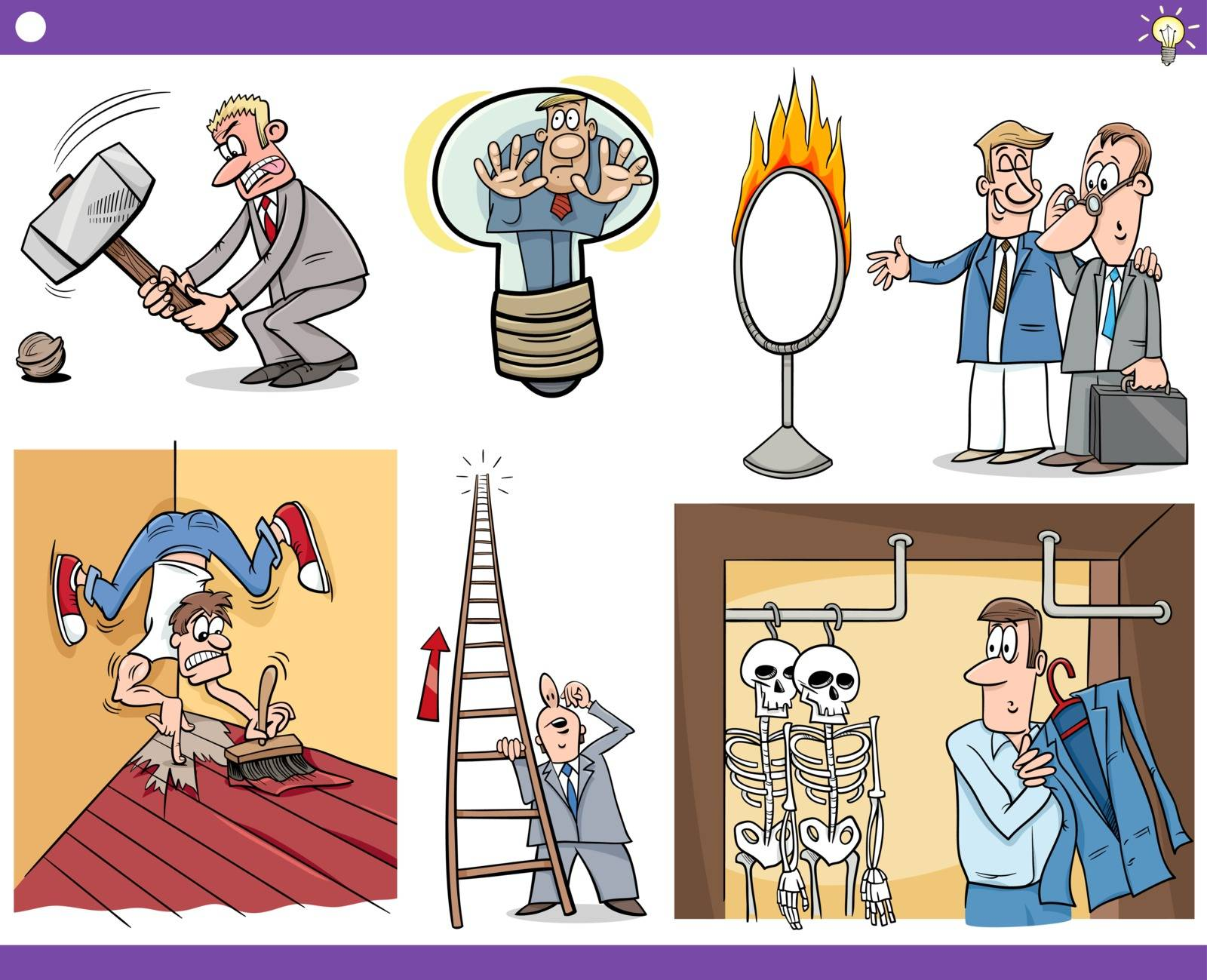 Illustration Set of Humorous Cartoon Concepts or Ideas and Metaphors with Funny Characters